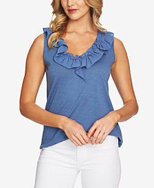 CeCe V-Neck Ruffled Top