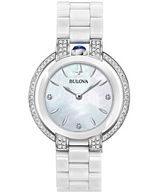Women's Rubaiyat Diamond (1/3 ct. t.w.) Stainless Steel and White Ceramic Bracelet Watch 35mm
