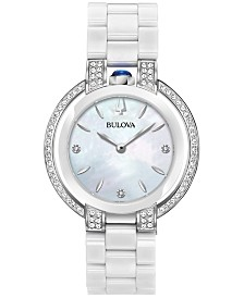 Bulova Women's Rubaiyat Diamond (1/3 ct. t.w.) Stainless Steel and White Ceramic Bracelet Watch 35mm