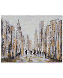 Distance Cityscapes Frameless Painting, Quick Ship