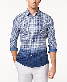Michael Kors Men's Slim Fit Dip-Dye Gingham Shirt