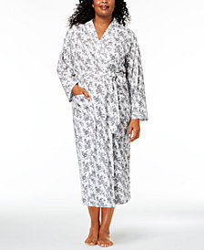 Charter Club Plus Size Cotton Rose-Print Wrap Robe, Created for Macy's