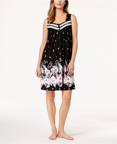 Macy's Garden Charter Created Rose Club Nightgown Cotton for Sleeveless Black qwU1ZqO