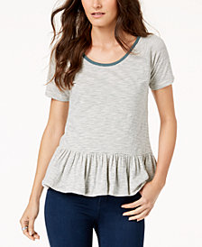Lucky Brand Cotton Striped Peplum-Hem T-Shirt
