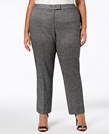 Anne Klein Plus Size Melange Straight-Leg Pants