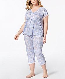 Miss Elaine Plus Size Printed Lace-Trim Short-Sleeve Pajama Set