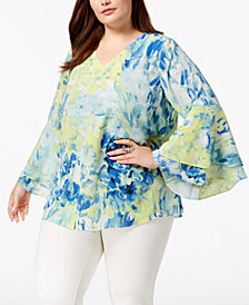Alfani Plus Size Printed Poet-Sleeve Top, Created for Macy's