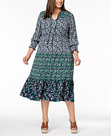 MICHAEL Michael Kors Plus Size Mixed-Print Peasant Dress