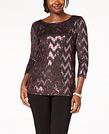 MSK Sequined Chevron Layered-Look Blouse