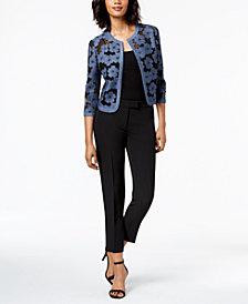 Anne Klein Embroidered Jacket & Slim-Fit Pants
