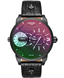 Diesel Men's Mini Daddy Croc-Embossed Black Leather Strap Watch 46x54mm