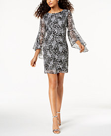 Jessica Howard Petite Printed Clip-Dot Bell-Sleeve Dress