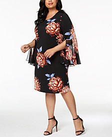 MSK Plus Size Floral-Print Bell-Sleeve Dress