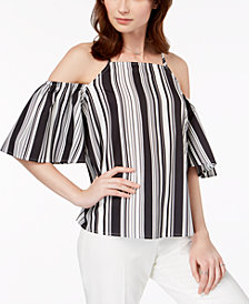 Almost Famous Juniors' Striped Cold-Shoulder Top