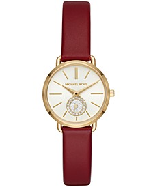 Women's Petite Portia Red Leather Strap Watch 28mm