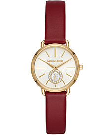 Michael Kors Women's Petite Portia Red Leather Strap Watch 28mm