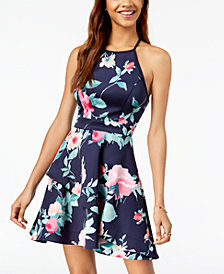 Speechless Juniors' Floral-Print Asymmetrical Tiered Fit & Flare Dress
