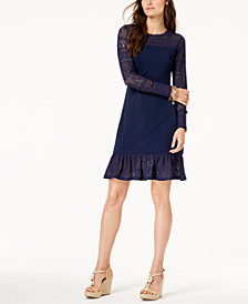 MICHAEL Michael Kors Pointelle Trim Flounce Dress In Regular & Petite Sizes