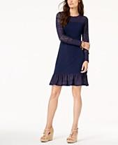 7581852accf MICHAEL Michael Kors Pointelle Trim Flounce Dress