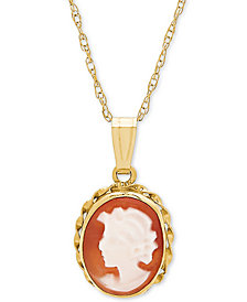 "Cornelian Shell Cameo 18"" Pendant Necklace in 10k Gold"