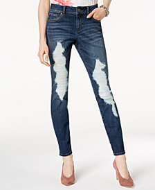 I.N.C. Curvy-Fit Destructed Skinny Jeans, Created for Macy's