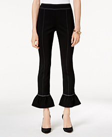 I.N.C. Contrast-Stitch Bell-Hem Pants, Created for Macy's