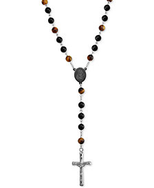 "Men's Tiger' Eye (5mm) and Black Agate Stone Cross 28"" Lariat Necklace in Stainless Steel"