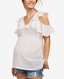 Motherhood Maternity Ruffled Cold-Shoulder Blouse