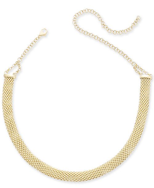 2e9803c7f ... Italian Gold Popcorn Mesh Link Choker Necklace in 14k Gold-Plated  Sterling Silver, 13 ...