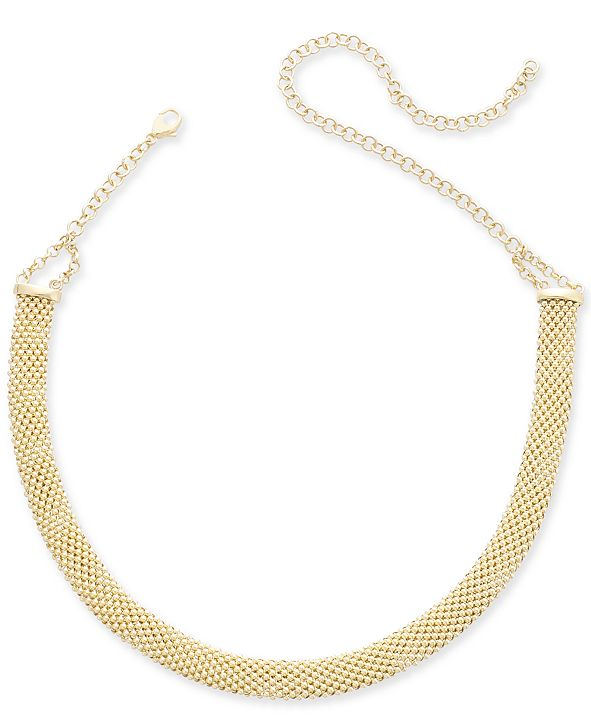 "Italian Gold Popcorn Mesh Link Choker Necklace in 14k Gold-Plated Sterling Silver, 13"" + 5"" extender"