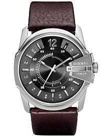 Diesel Men's Master Chief Dark Brown Leather Strap Watch 45x51mm