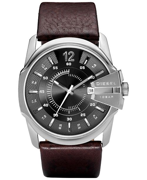 Diesel Men's Master Chief Dark Brown Leather Strap Watch 45x51mm
