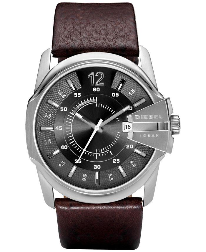 Diesel - Men's Master Chief Dark Brown Leather Strap Watch 45x51mm