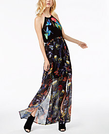 GUESS Birds Of Paradise Halter Maxi Dress