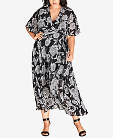 City Chic Trendy Plus Size Printed Wrap Dress