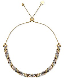 Tricolor Rope Bolo Bracelet in 10k Gold, White Gold & Rose Gold