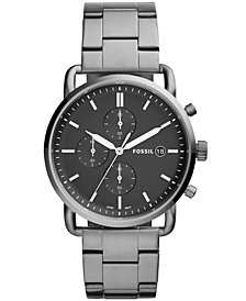 Fossil Men's Chronograph Commuter Smoke-Tone Stainless Steel Bracelet Watch 42mm