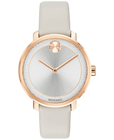 Movado Women's Swiss Bold Gray Leather Strap Watch 34mm