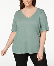 Eileen Fisher Plus Size Organic Cotton T-Shirt
