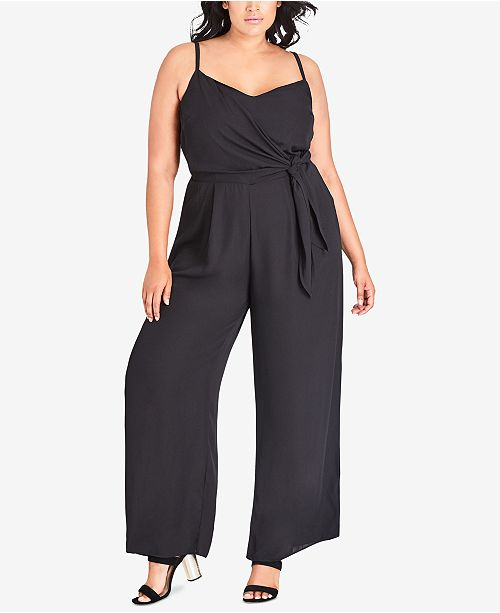 Black Trendy Chic Tie Side Size Plus Jumpsuit City nR0xdpqwq