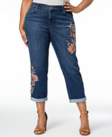 Style & Co Plus Size Botanical Shine Embroidered Curvy Boyfriend-Fit Ankle Jeans, Created for Macy's