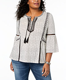 Style & Co Plus Size Crochet-Trim Bell-Sleeve Peasant Top, Created for Macy's