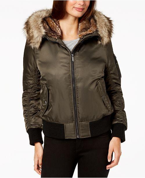 01c5c6f25fd5 BCBGeneration Faux-Fur-Trim Bomber Jacket   Reviews - Coats - Women ...