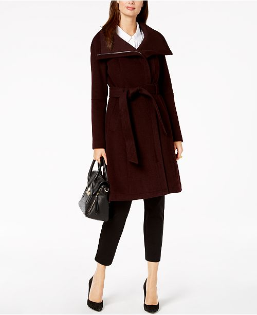 Burgundy BCBGeneration Wrap Collar Stand Coat qRYBRw
