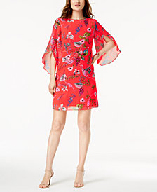 MSK Angel-Sleeve Floral-Print Shift Dress