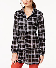 Style & Co Printed Tiered Button-Down Top, Created for Macy's