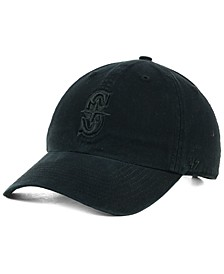 Seattle Mariners Black on Black CLEAN UP Strapback Cap