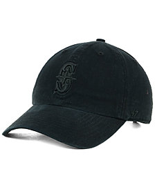'47 Brand Seattle Mariners Black on Black CLEAN UP Strapback Cap
