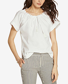 Lauren Ralph Lauren Ruched-Neck Cotton Top