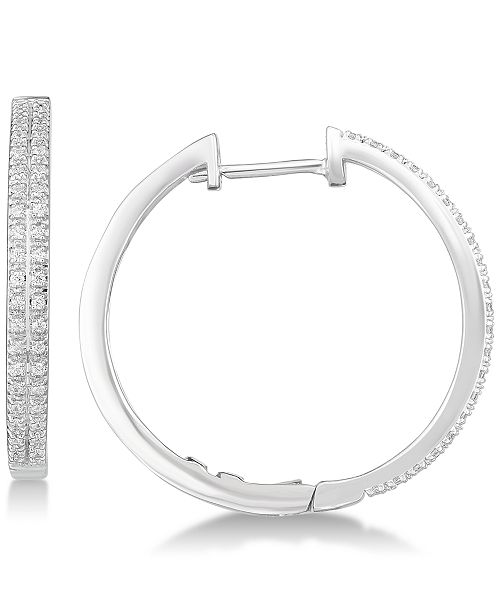 Macy's Diamond Hoop Earrings (1/4 ct. t.w.) in Sterling Silver